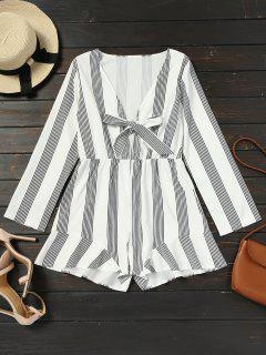 Plunging Neck Tied Bowknot Striped Romper - White S