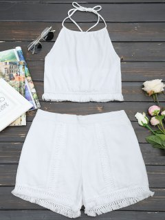 Open Back Tassels Cropped Top And Crochet Panel Shorts Set - White L