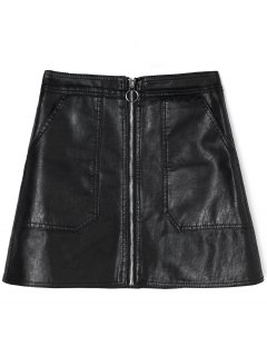 Zipped PU Leather Skirt With Pockets - Black M
