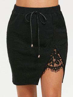 Split Lace Panel High Waisted Short Skirt - Black L