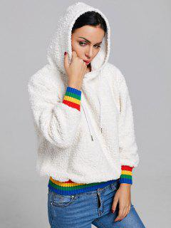 Rainbow Trim Tunic Faux Shearling Hoodie - Off-white