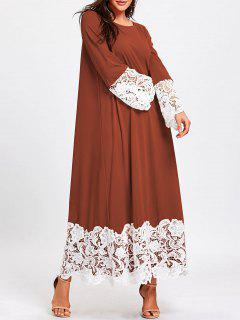 Robe Droite à Manches Longues Et Dentelle à Manches Longues - Brun-rouge 2xl