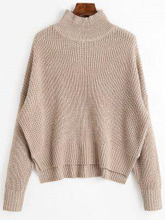 High Neck Side Slit Chunky Sweater - Light Khaki