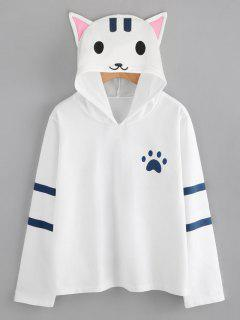 Footprint Cat Stripes Panel Hoodie - White L