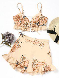 Lace Up Floral Top And Shorts Set - Floral L