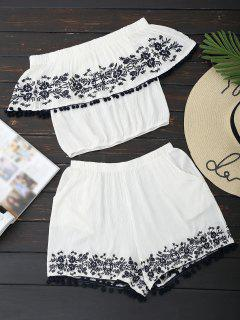 Off Shoulder Floral Top And Shorts Set - White L
