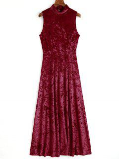 Open Back High Slit Velvet Maxi Dress - Wine Red M