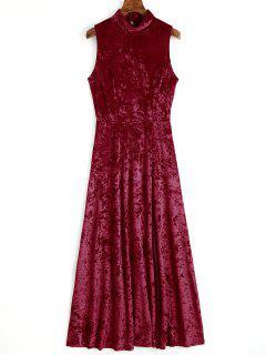 Open Back High Slit Velvet Maxi Dress - Wine Red L