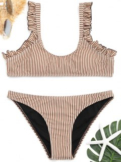Frilled Hem Gestreiftes Bikini-Set - Kafee S
