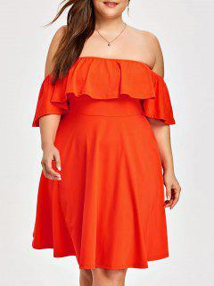 Taille Plus Off The Robe Volant épaule - Orange 2xl