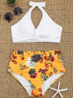 Floral Twist Front High Waisted Bathing Suit - White L