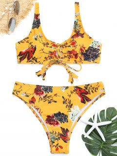 High Cut Floral Schnür Bikini Set - Gelb S