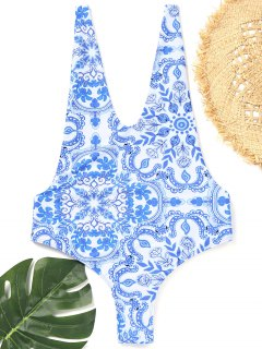 Open Back Porcelain One Piece Swimsuit - Blue And White L