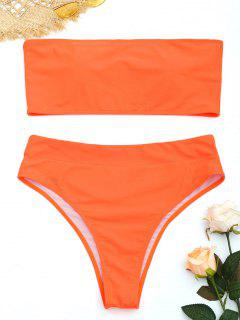Plus Size High Cut Bandeau Bikini Set - Fluorescent Orange Xl