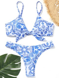 Knotted Porcelain Print Bikini Set - Blue And White S