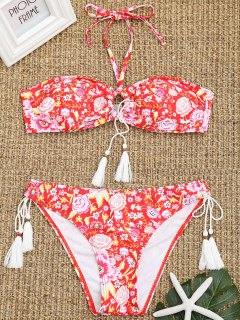 Ensemble De Bikini à Fleurs Et Pompons Bandeau - Floral L