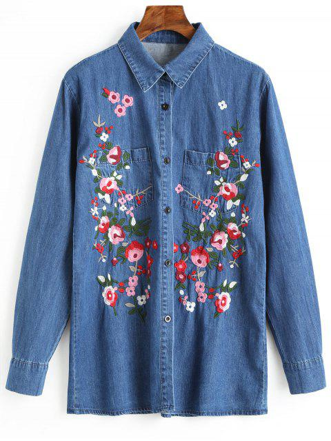 Button Up Floral besticktes Jeanshemd - Blau L Mobile