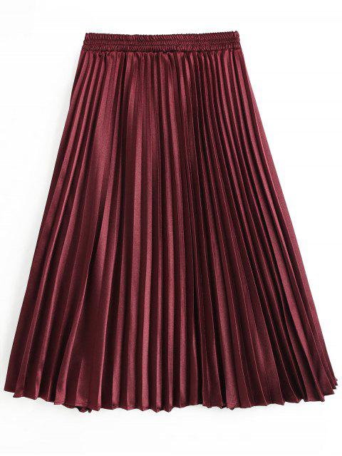 new High Waist Pleated Skirt - WINE RED L Mobile