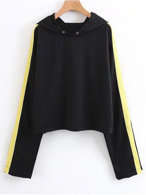 outfits Open Sleeve Ribbons Trim Hoodie - BLACK L Mobile