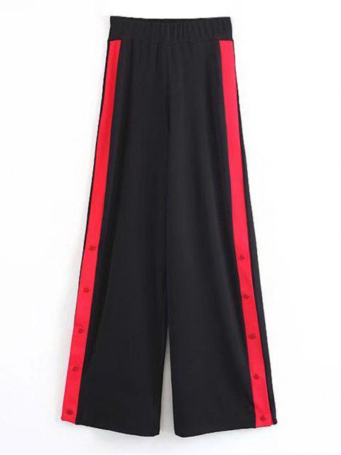 Pantalones anchos de contraste con botones a presión - Negro M Mobile
