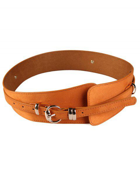 sale Metal Round Buckle Decorated Wide Waist Belt -   Mobile