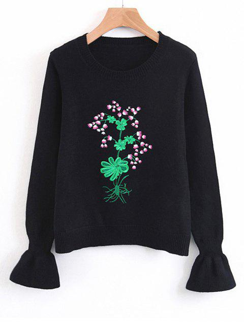 outfit Flouncy Sleeve Floral Embroidered Sweater - BLACK ONE SIZE Mobile