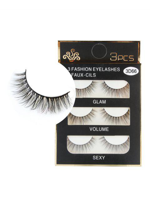 online 3 Pairs Natural Soft Long Extension Faux Eyelashes - BLACK  Mobile