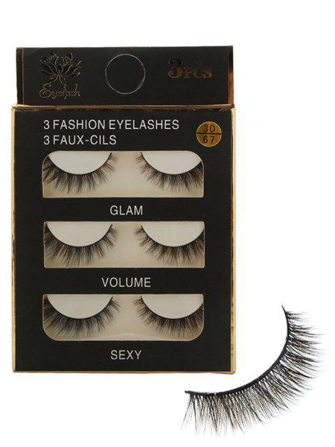 new 3 Pairs Natural Volumizing Curving Fake Eyelashes -   Mobile
