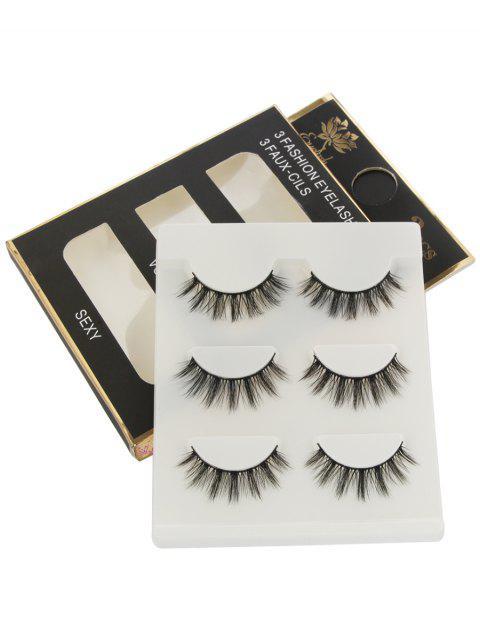 Maquillaje Natural de Extensión Larga Pestañas Postizas 3 - Negro  Mobile