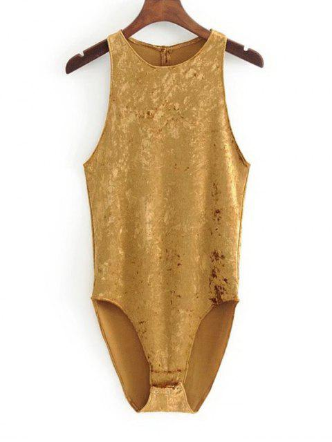 best Racerback Crushed Velvet Bodysuit - MUSTARD M Mobile