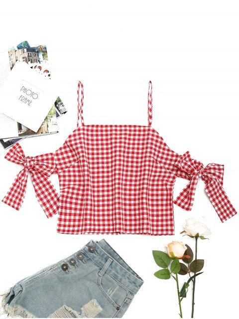 A cuadros blusa de hombro frio rajado - Rojo L Mobile