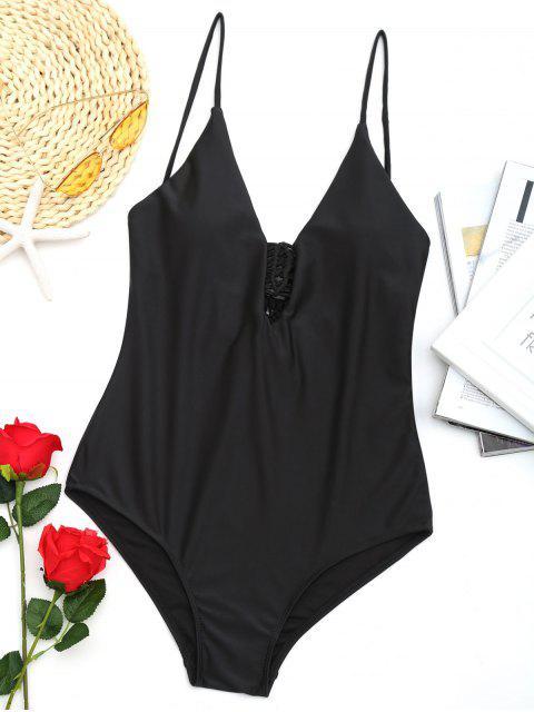 unique One Piece Low Back Macrame Swimwear - BLACK S Mobile