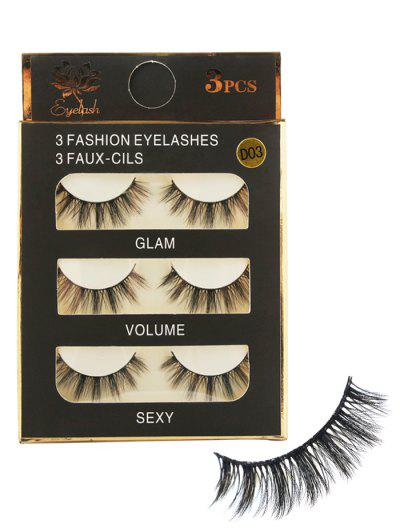 b58cf34505b 3 Paisr Natural Long Extension Fake Eyelashes - Black ...