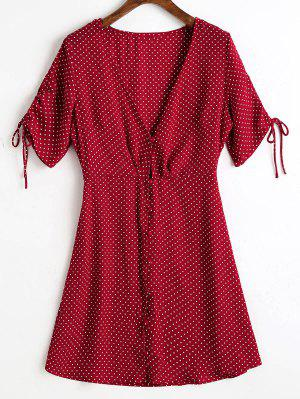 Button Up Chiffon Polka Dot Mini Dress - Wine Red L