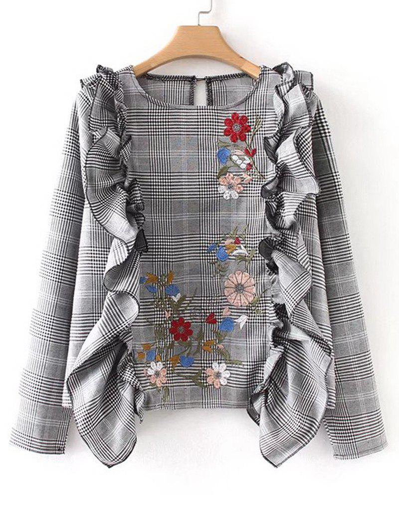 Rschen Plaid Floral bestickte Bluse