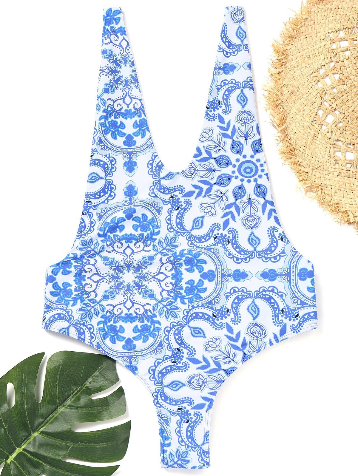 Open Back Porcelain One Piece Swimsuit 244511701