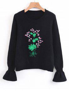 Floutie Sleeve Floral Bestickter Pullover - Schwarz