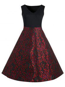 زائد الحجم بيزلي ميدي 1950s خمر اللباس - أحمر 5xl