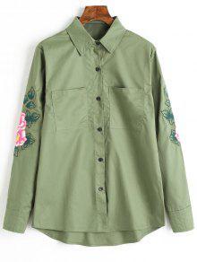 Camisa De Borda Bordada Floral Com Botão Para Cima - Verde L
