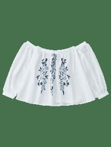 Floral Estampado Hombros Con M Descubiertos Blusa De Blanco q8wgSS