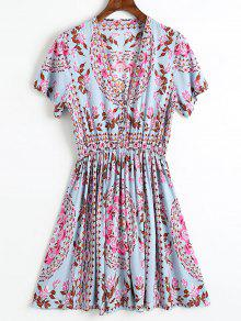 فستان مصغر طباعة الأزهار بنصف الزر - أزرق رمادي M