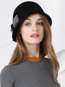 بونوت نمط فو الصوف السيدات قبعة رسمية - أسود