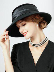 e4c1dbd6858 26% OFF  2019 Bowknot Decoration Faux Wool Fedora Hat In BLACK