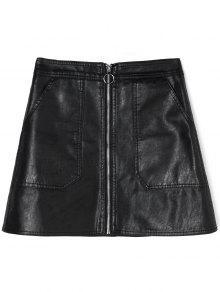 زيب بو تنورة جلدية مع جيوب - أسود Xl