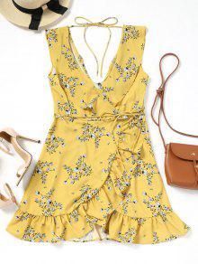 فستان طباعة الأزهار مربوط كشكش غارق الرقبة - الأزهار S