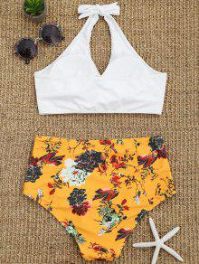 cc016541caaef 20% OFF] 2019 Floral Twist Front High Waisted Bathing Suit In WHITE ...