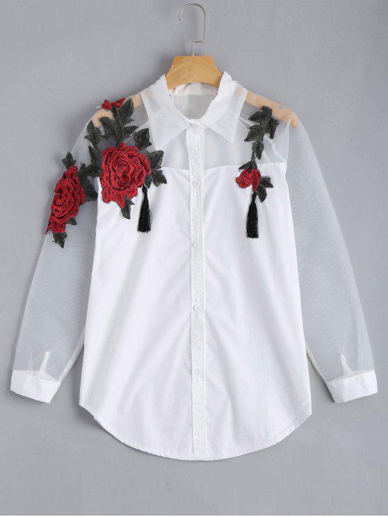 Camisa bordada del BF del panel del Organza del Applique de Rose - Blanco S