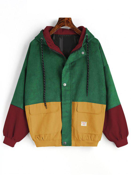 fashion Hooded Color Block Corduroy Jacket - GREEN L