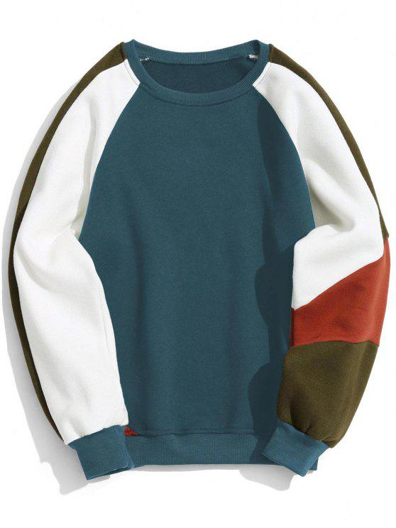 ladies Color Block Fleece Crew Neck Sweatshirt - BLUE XL