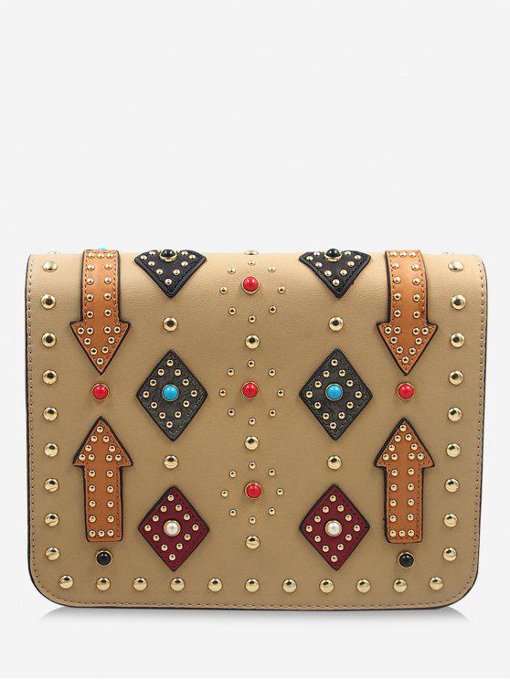 shops Geometric Rivets Color Block Crossbody Bag - APRICOT